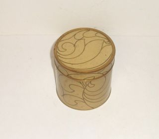 Old Cloisonne Cream Enamel Abstract Design Humidor Jar Canister Box photo