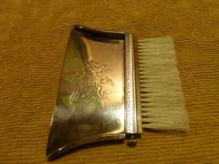Antique Sheffield Silver Co Crumb Tray & Brush photo