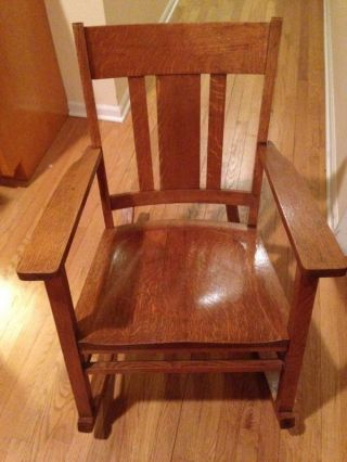 Solid Oak Low Rocking Chair - Very Old photo