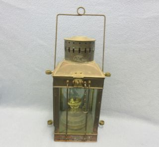 Vintage 1920 ' S Neptune Nr Brass Oil Lantern Marine Lamp Boat Antique photo