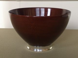 Mid Century Vintage Mahogany Wood & Sterling Silver Large Bowl Revere Silver Co photo