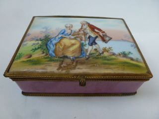 Antique Hand Painted Porcelain Enamel Jewel Trinket Box photo