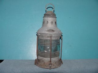 Antique Old Metal 1910 Triplex Nautical Maritime Ships Lantern photo
