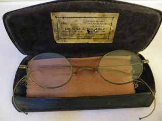 Antique Wire - Rim Eyeglasses W Doctors Name On Case & Cleaning Cloth,  Gold Patina photo
