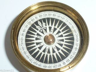 Antique Brass Cased Pocket Compass Floating Card Dial Scientific Tool photo