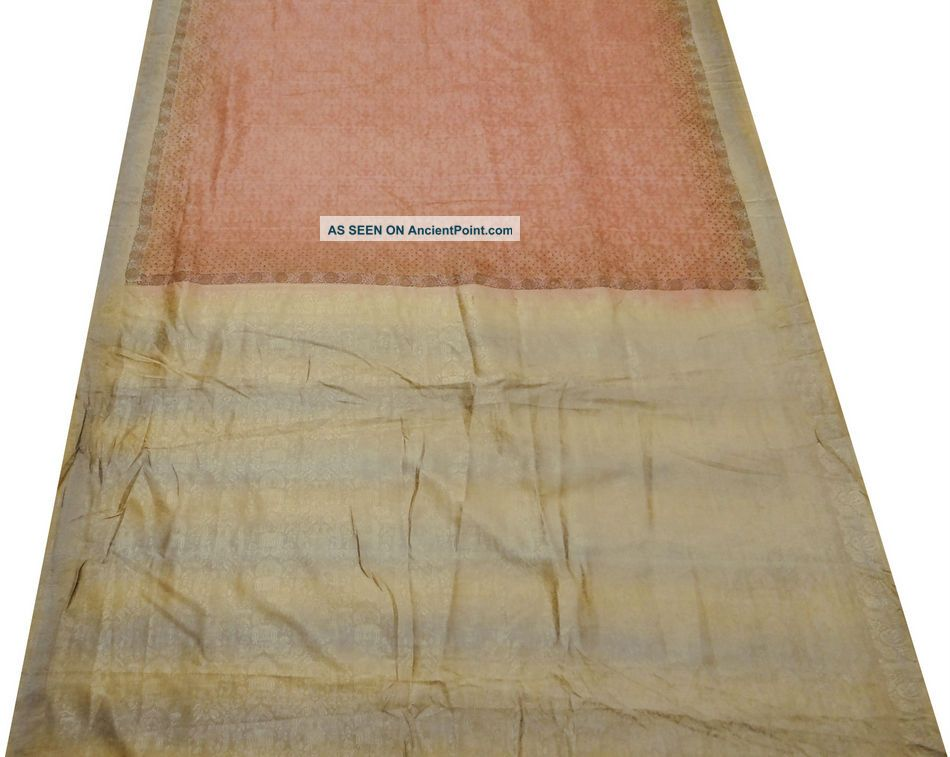 Vintage Sari Art Silk Weaving Work Indian Fabric Sari Brown Deco Craft 5yard Other photo