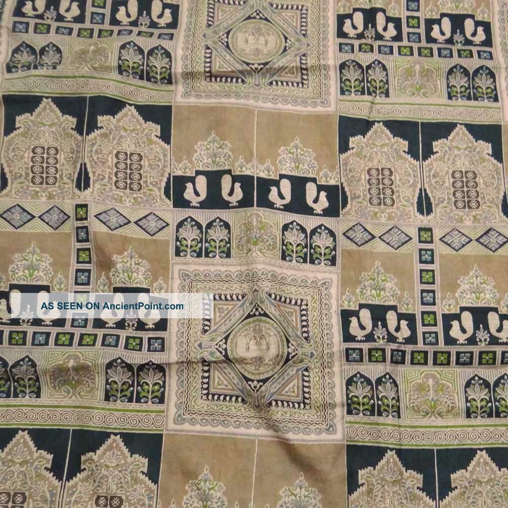 Vintage Indian Sari Art Silk Fabric Bird Printed Beige Deco Wrap Women Dress Other photo