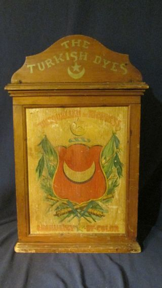 Rare Antique 1890s Turkish Dyes Wooden Store Counter Display Cabinet Litho Adv. photo