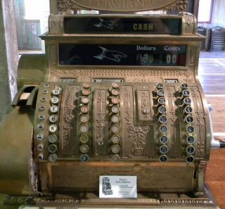 Antique National Cash Register With Large Wooden Base - 00141 photo