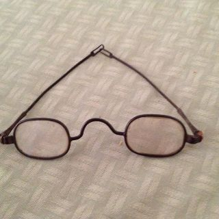 Antique Old Small Oval Metal Spectacles - Unmarked photo