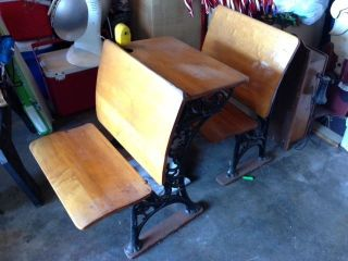 Antique School Desk With Matching Back Chair photo
