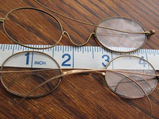 Antique Wire Rim Oval Eyeglass Parts For Repair L B Co Spectacles photo