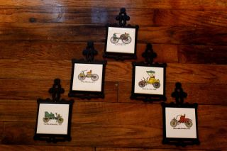 Set Of 5 Antique Ford Car Trivets Vintage Collectibles Olympics Signia On Back photo