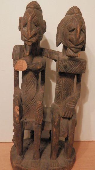 Old Antique Africa African Primitive Wood Sculpture Carving Fine Tribal Folk Art photo