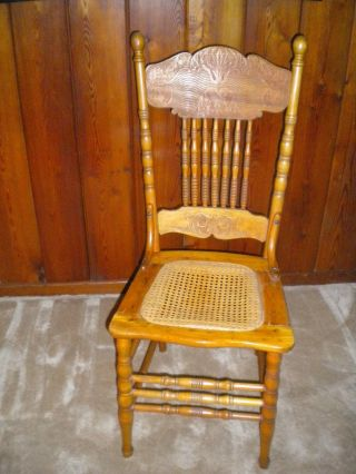Antique Chair With Rattan - Caned Seat,  Polyurethane Finish - Pick Up Only photo