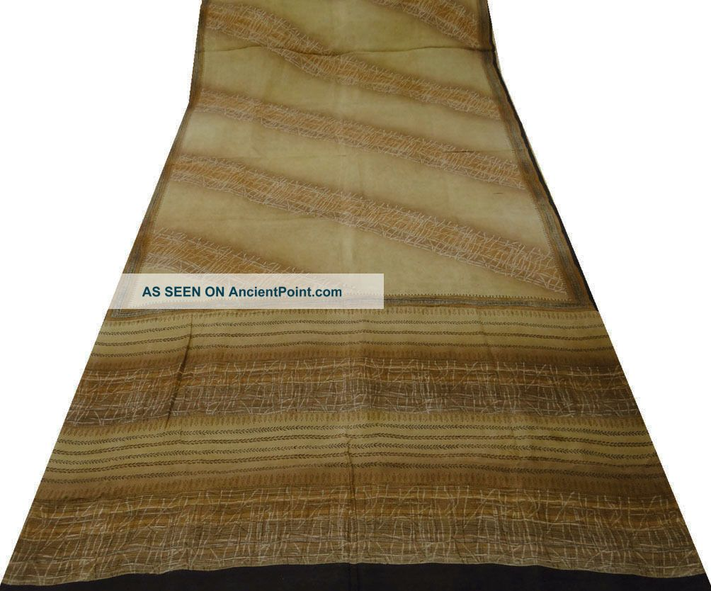 Vintage Saree Art Silk Printed India Sari Fabric Brown Craft Art Deco 5yd Other photo