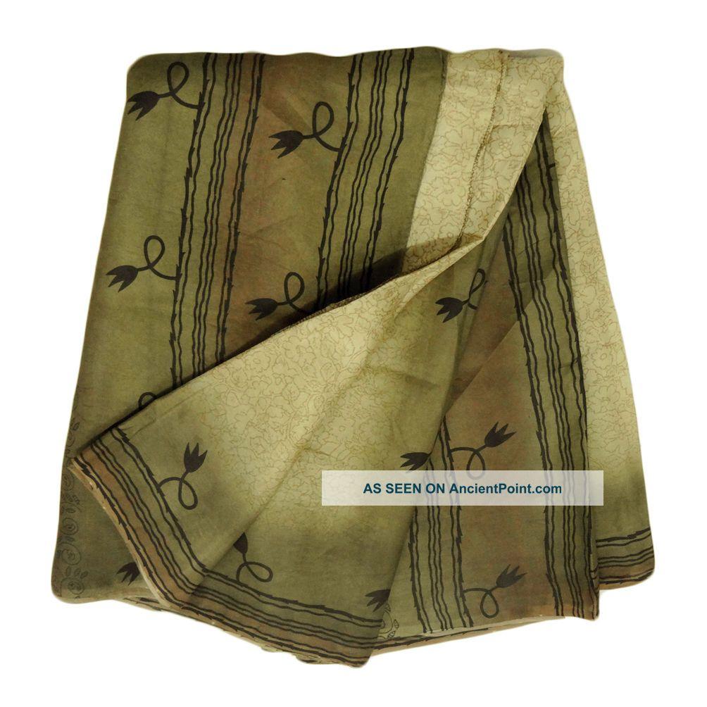 Vintage Saree Art Silk Printed India Sari Fabric Beige Antique Woman Wrap Decor Other photo
