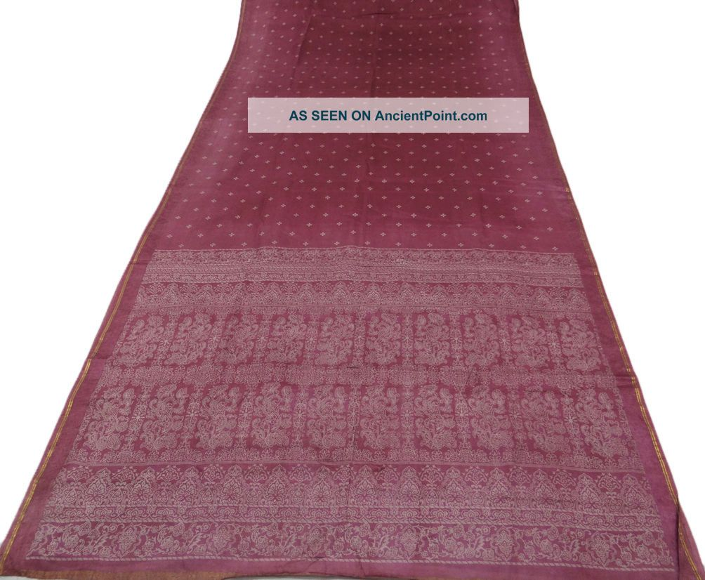 Vintage Saree Art Silk Calico Printed India Sari Fabric Mauve Craft Deco Home Ar Other photo