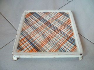 Fab Vintage French Enamelware Trivet Square photo