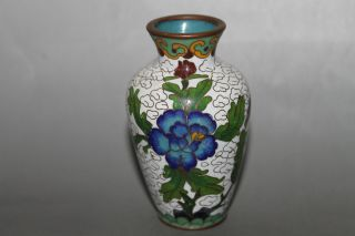 Collectable,  Chinese Cloisonne Handwork Carved And Painte Flower Decoration Vase photo
