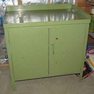 Antique 1940s Metal Industrial Bar Cabinet Safe Lock & Key Vintage Green Pickup photo