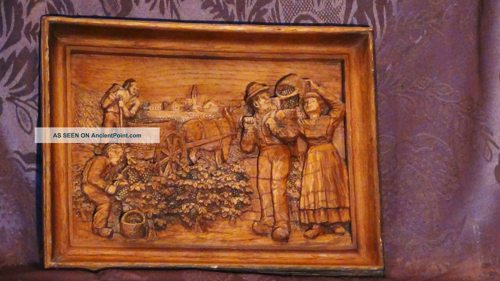 Antique 19c Italian Wood Hand Carved Wall Plaque