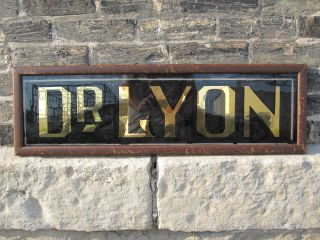 Antique Edwardian Doctor Dr Lyon Trade Sign Crane Interior Decorate Gold Black photo