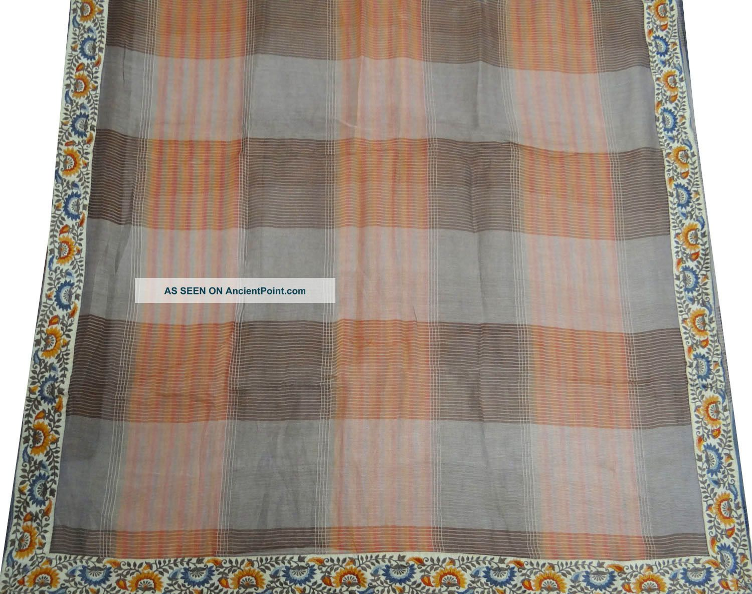 Vintage Saree Polyester Embroidered Indian Sari Fabric Gray Deco Craft Drape Art Other photo