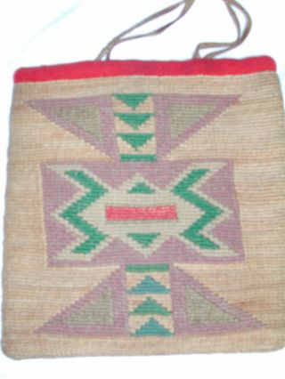 Wonderful Mint Condition Nez Perce Indian Corn Husk Bag photo