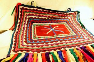 Ethnic Vintage Traditional Colorful Incahuasi Lliclla Manta Blanket Carpet photo
