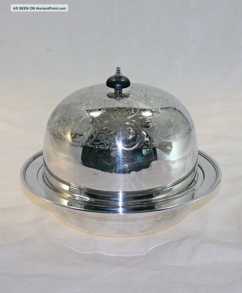 Victorian Silver Plated 3 Piece Butter Dish With Dome Lid Circa 1890 Butter Dishes photo
