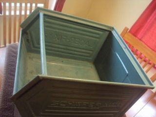 Vintage Industrial Age Heavy Duty Green Metal Stacking Storage Bins photo
