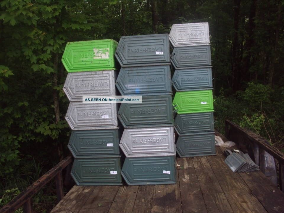 vintage industrial age heavy duty green metal stacking stora