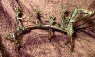 Old Antique Ashanti Bronze Brass Art African Horse Warrior Scupture Art Man Men photo