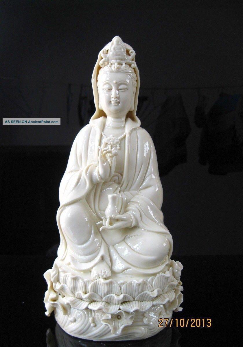 True Chinese Dehua Porcelain Kwan - Yin Guanyin Sest Statue Buddha photo