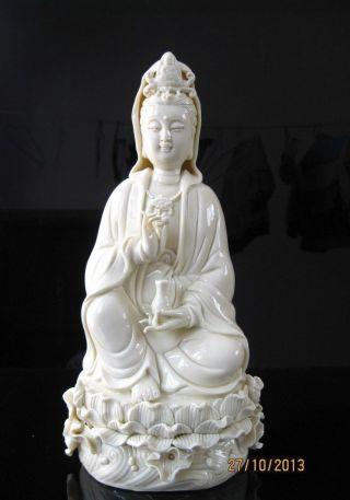 True Chinese Dehua Porcelain Kwan - Yin Guanyin Sest Statue photo