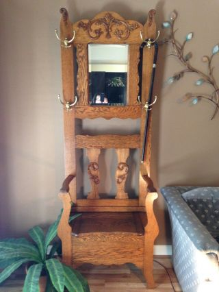 Moving Sale Antique Oak Hall Tree With Flip Top Seat photo