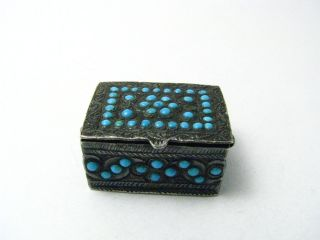 Solid Silver Pill Box Amulet Case Pillbox W/turquoise Persia Middle East C1800s photo