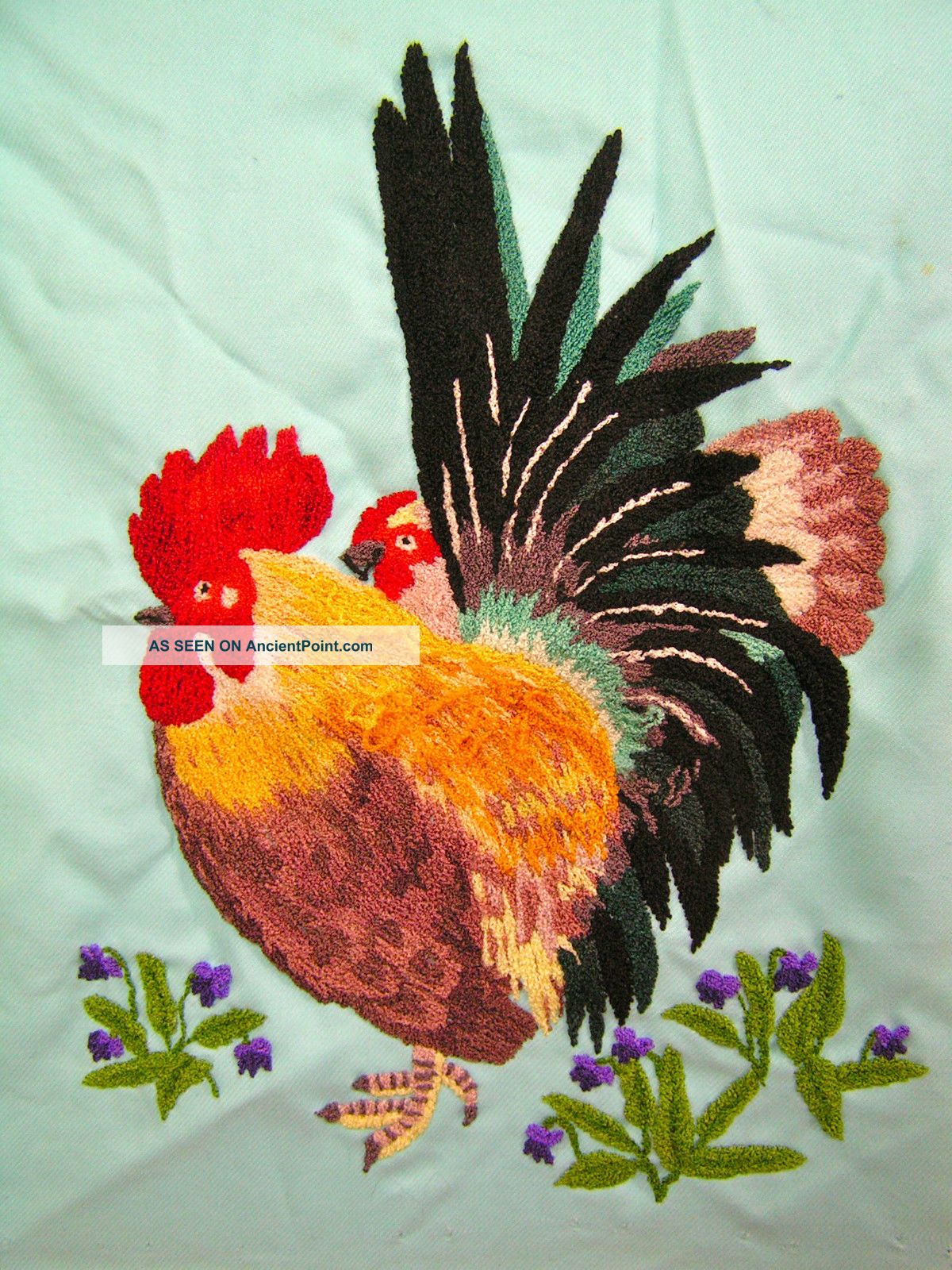 Vintage Antique Japanese Silk Embroidery Completed Needlework Asian Cock Chicken Kimonos & Textiles photo