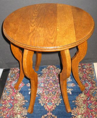 Vintage Solid Oak Round Plant Stand Lamp Table Display Stool Six Shaped Legs photo