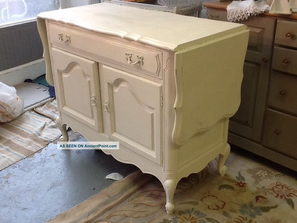Vintage Server Or Buffet.  Chalk Painted Ivory Turquoise Inside Cubbard Post-1950 photo