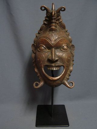 Outstanding Bronze Ceremonial Mask On Custom Made Base,  Gabon photo
