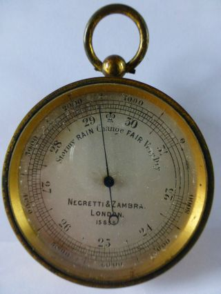 C1855 Antique Pocket Barometer Negretti & Zambra London 15855 photo