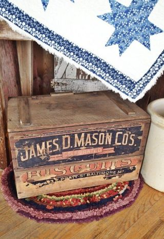 Antique James D.  Mason Bisquits Baltimore Md General Store Display Box Wooden photo