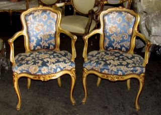 19th C.  Elegant French Polychrome Diminutive Louis Xv Fauteuils Arm Chairs photo