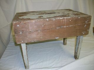 Antique Primitive Wooden Milking Stool/bench Full Of Character photo
