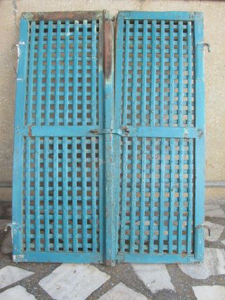 Indian Antique Hand Made Wooden Temple Ala Door Window Rich Patina photo