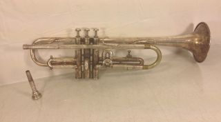 Antique French Couesnon & Cie Trumpet A/b Valve W/ Couesnon Mouthpiece In Case photo