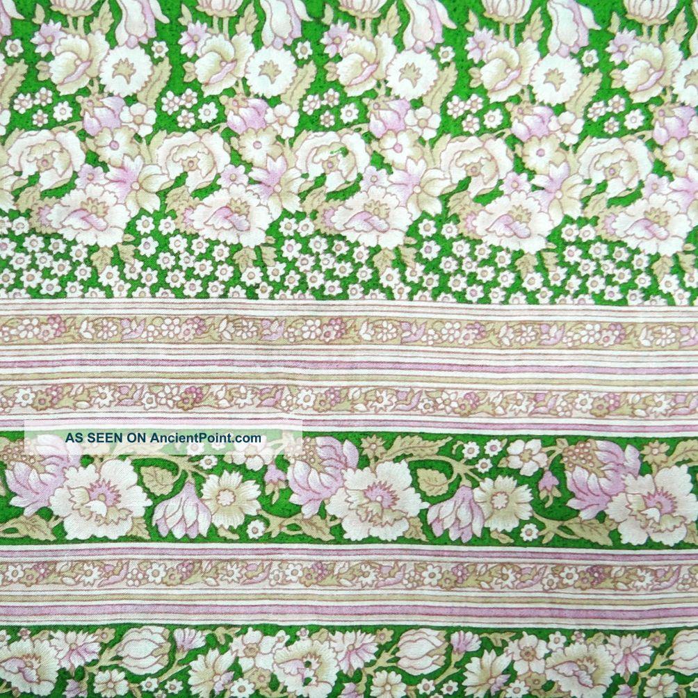 Vintage Saree Pure Silk Floral Printed India Sari Fabric Green Craft Art Deco Other photo