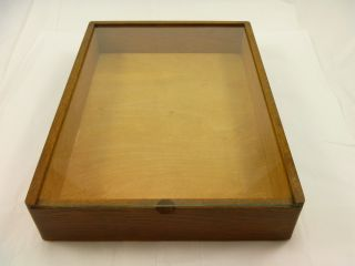 Vintage Display Case Oak Wood Sliding Glass Top Store Counter Storage Box photo